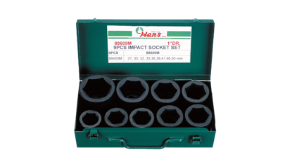 "Picture of Hans 88609M 1"" Drive 9 Pcs. Impact Socket Set - 86609 - Metric Size"