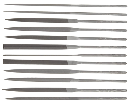 """Picture of Nicholson 12 Piece Needle File Set with Handles, Swiss Pattern, Double Cut, #2 Coarseness, 6-1/4"""" Length"""