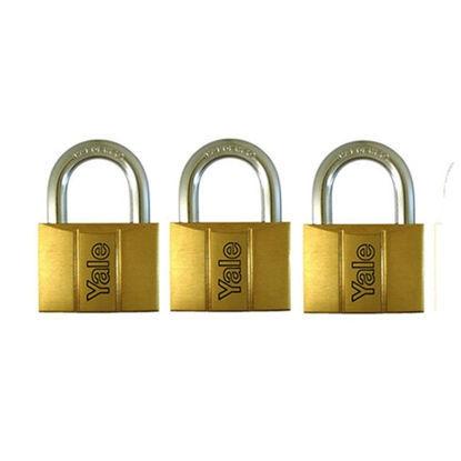 Picture of Yale V140.50 KA3, Standard Shackle Brass Padlocks 140 Series Key Alike 3, V14050KA3