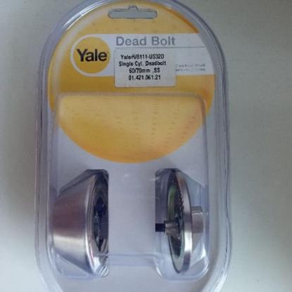 Picture of Yale V8111 US32D, Single Cylinder Deadbolt Lock, V8111US32D
